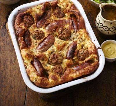 Superb Herb batter Toad-In-The-Hole with Beef & Tomato sausages